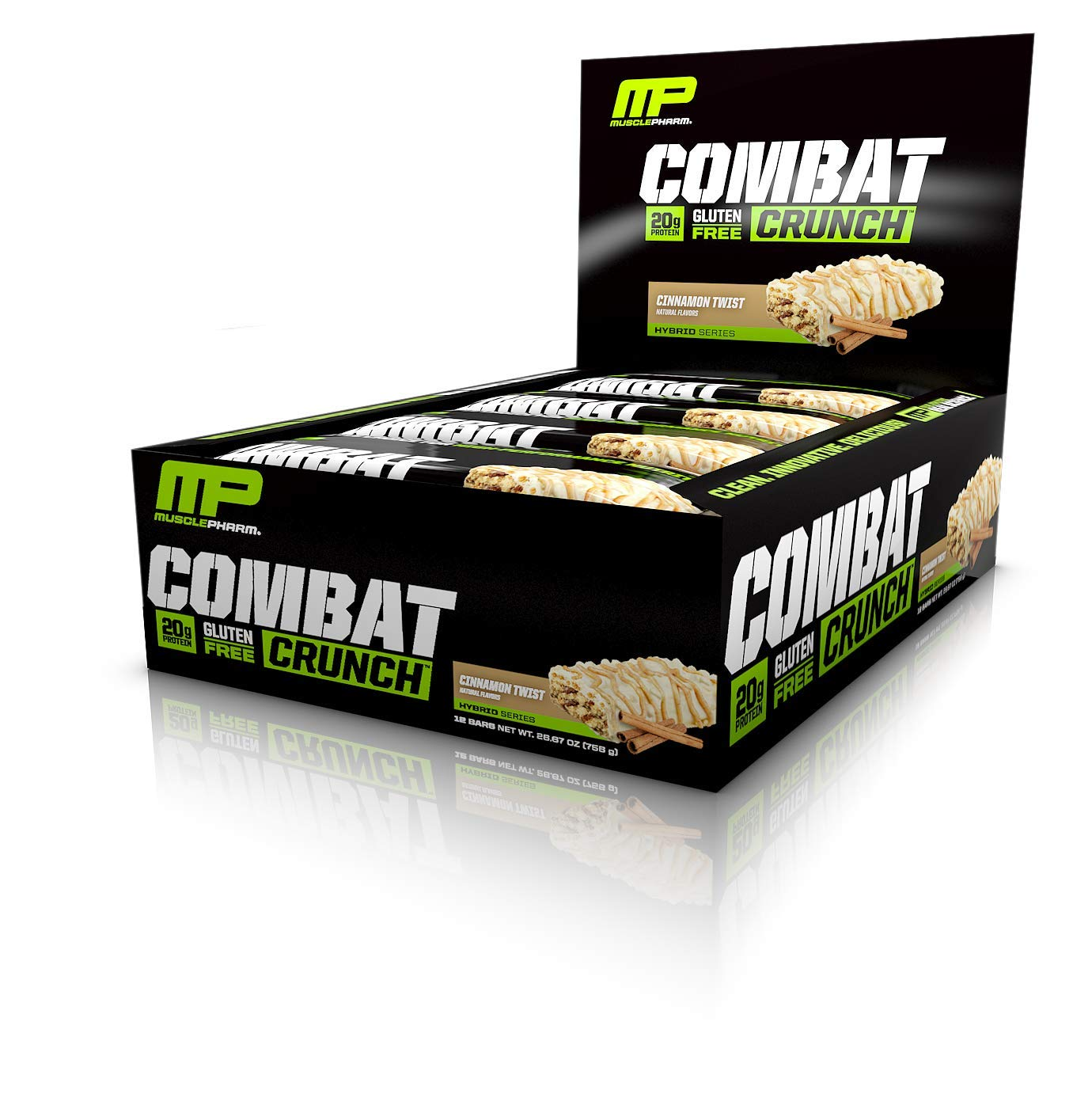 MusclePharm Combat Crunch Protein Bar, Multi-Layered Baked Bar, Gluten-Free Bars, 20 g Protein, Low-Sugar, Low-Carb, Gluten-Free, Cinnamon Twist Bars, 12 Servings by Muscle Pharm