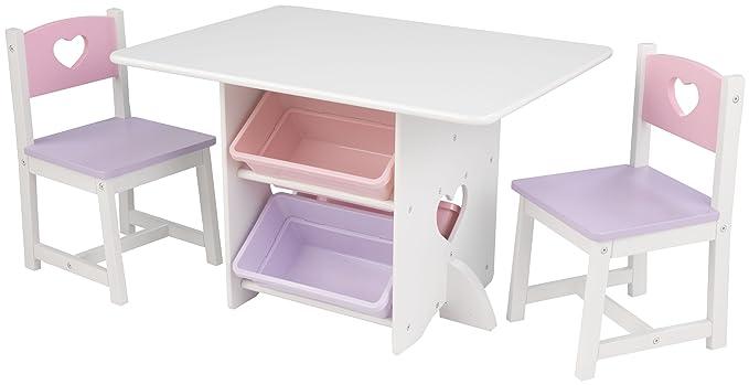 KidKraft 26913 Herz Tisch mit 2 Stühlen aus Holz für Kinder weiß & pastellfarben mit Stauraum Körben - Kinderzimmer Möbel