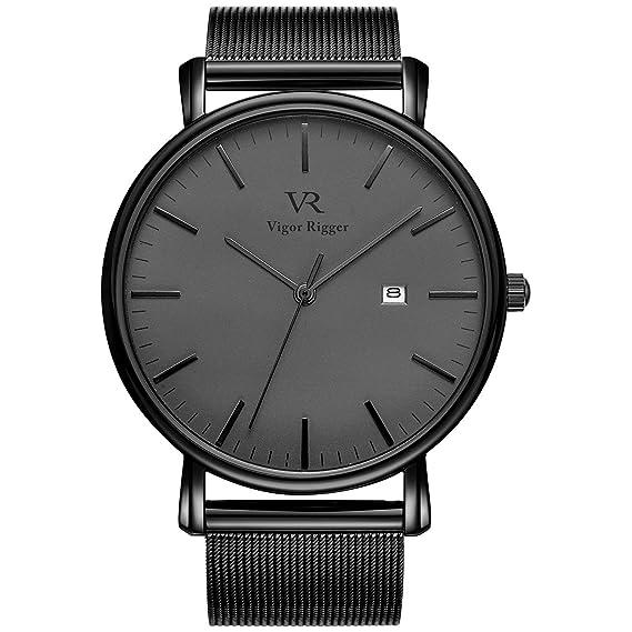 7a159c3cab21 Vigor Rigger Relojes para Hombres Reloj de Pulsera Negro Ultra Delgado para  Mujeres con Calendario de Fecha y Banda de Malla milanesa Negra  Amazon.es   ...