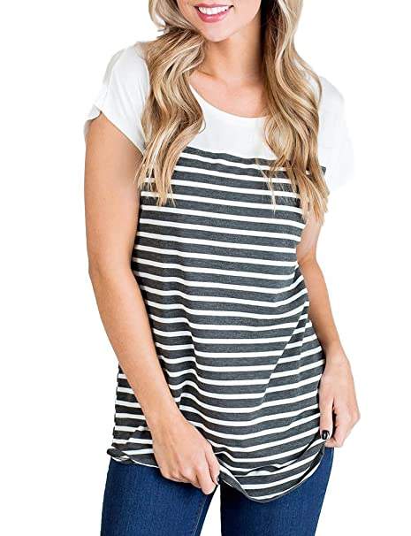 fc794bc6626d Halife Women's Button Down Short Sleeve Tie Front Knot Loose Knit T Shirt  Henley Tops (M, Biack) at Amazon Women's Clothing store: