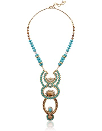 4f0a45cc4c6d92 Lucky Brand Women's Turquoise and Jasper Beaded Necklace, Two Tone, One Size