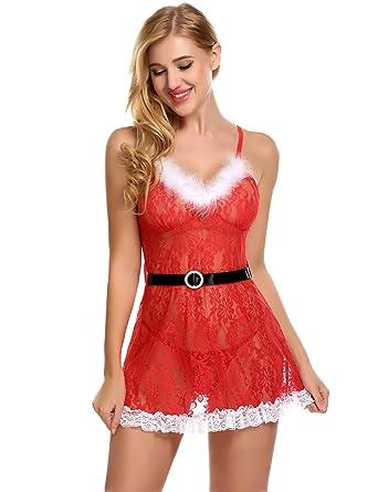 1ab04eae725fff Avidlove Damen Weihnachts Lingerie Sexy Transparent Dessous Set Kostüm Xmas  Nikolaus Wäsche mit G-String Gürtel