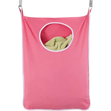 Laundry Nook Door Hanging Laundry Hamper With Stainless Steel Hooks (Pink)