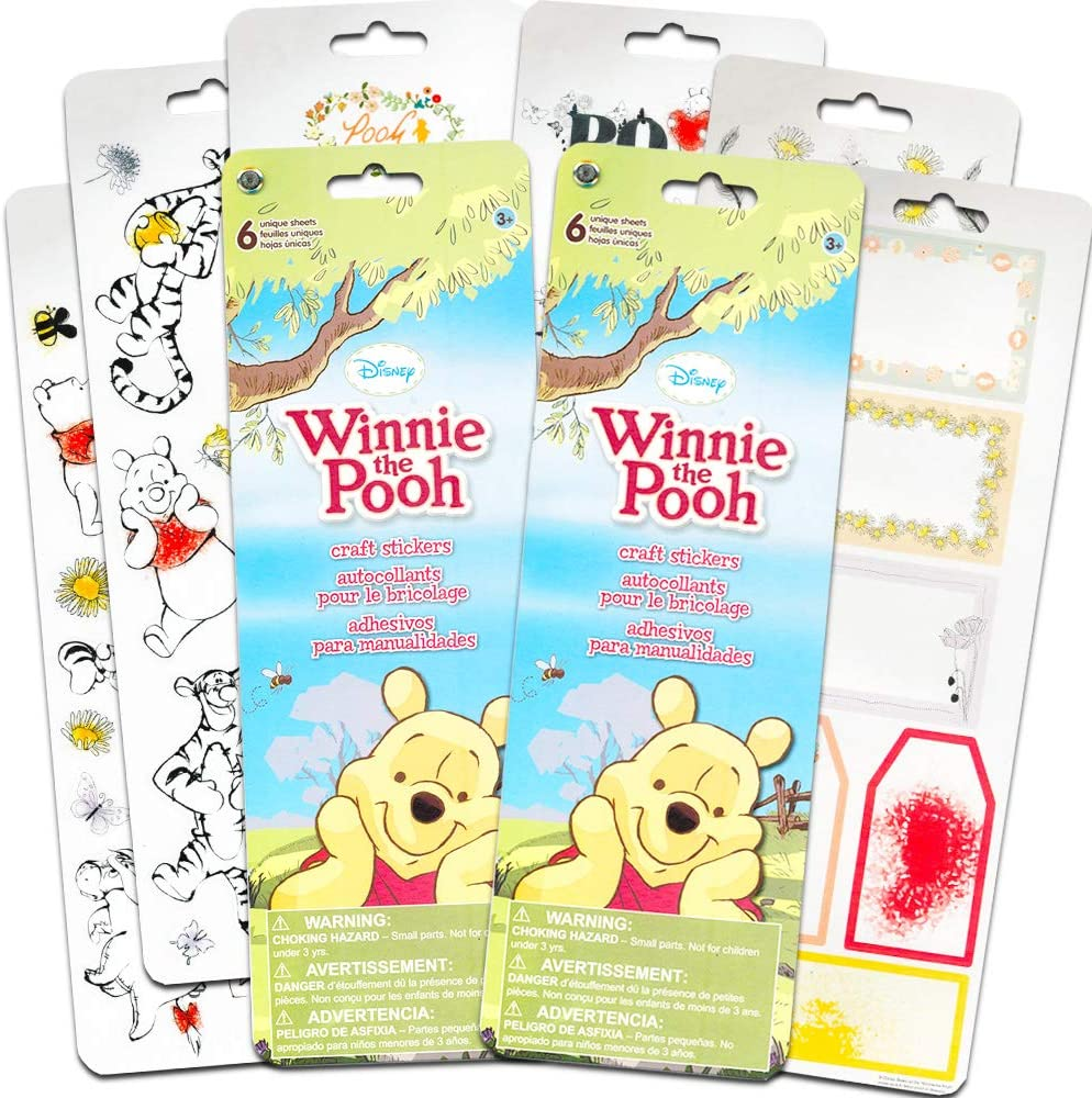 """Sandylion Vintage winnie the pooh Stickers lot of 5 SHEETS size 4/"""" X 6/"""""""