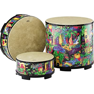 "Remo Drum, KIDS PERCUSSION, Gathering Drum, 18"" Diameter, 8"" Height, Fabric Rain Forest: Musical Instruments"