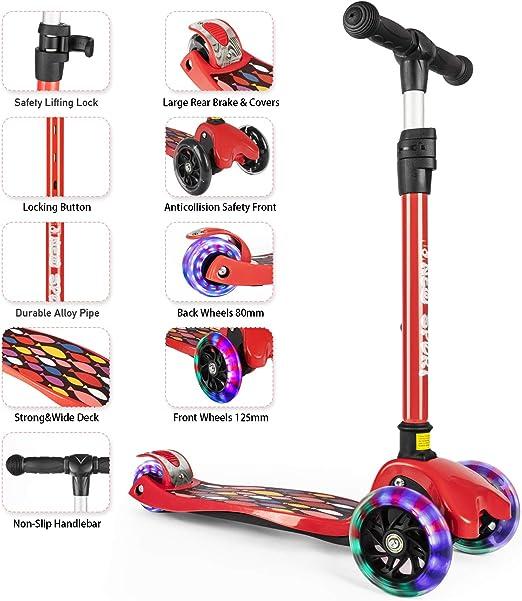 Amazon.com: Patín para niños de 3 ruedas para niños y niñas ...