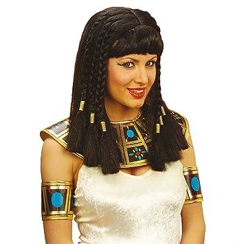 Perruque de Cléopâtre noir avec frange Mardi