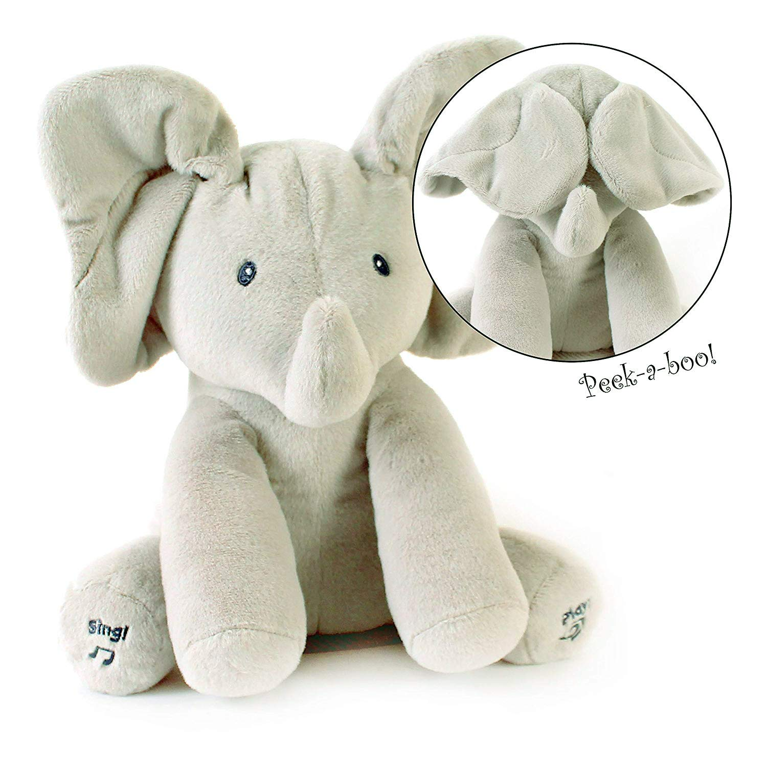 Yiwant Plush Toy Peek-a-Boo Elephant, Hide and Seek Game Baby Animated Flappy Ear Elephant Plush Toy Singing Talking Cute Stuffed Animals for Babies Kids Boys Girls,Gray by Yiwant