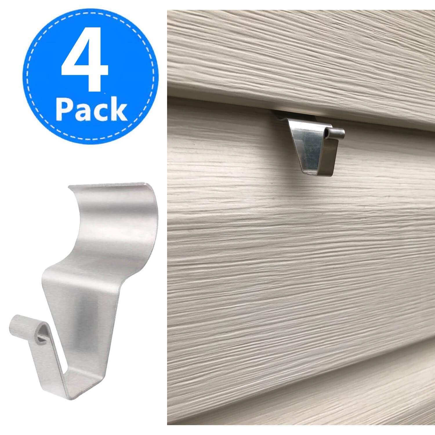 Vinyl Siding Hangers, Heavy Duty Outdoor Light Wreath Pictures Hook for Hanging 4 Pack