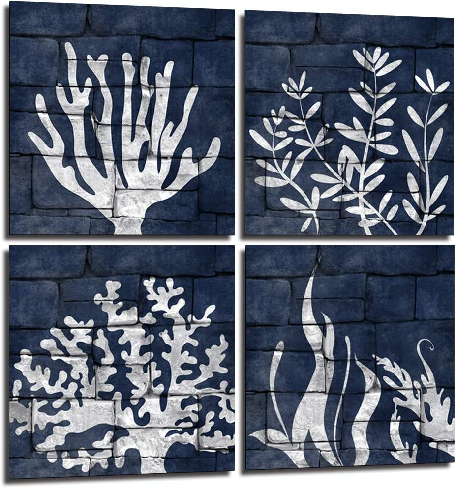 Amazon Com Lovehouse Navy Beach Decor Wall Art Set Of 4 Panel Sea Fan Sea Coral Art Prints Coastal Coral Wall Decor For Shower Room Bathroom Stretched Ready To Hang 12 X12 X4 Pcs Posters