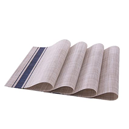 Bettli Placemat, Fashion European Style PVC Placemat Non-slip Insulation Placemat Washable Table Mats. Set of 4. (Blue PVC)