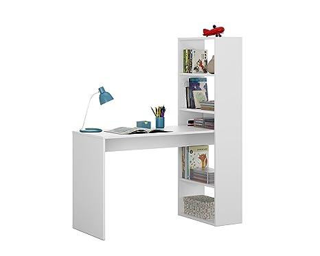 Scaffale Per Scrivania.Habitdesign Scrivania Con Scaffale Reversibile Colore Bianco Alpino Altezza 120 X 144 X 53 Cm