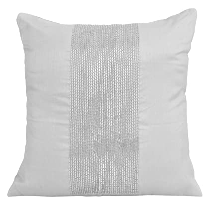 Amazoncom The White Petals Silver Decorative Pillow Cover Beaded