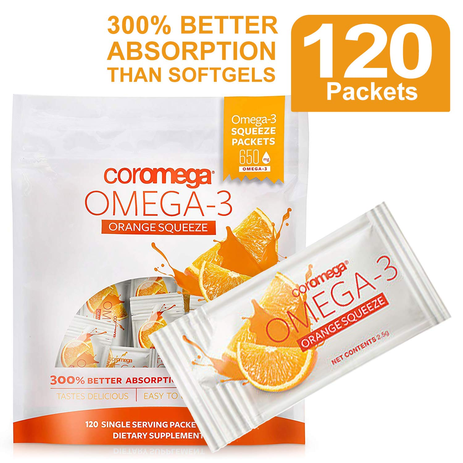 Coromega Omega 3 Fish Oil Supplement, 650mg of Omega-3s with 3X Better Absorption Than Softgels, Orange Flavor, 120 Single Serve Squeeze Packets by Coromega