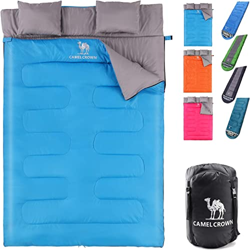 CAMEL CROWN Camping Sleeping Bag – 3 Seasons Warm Cold Weather Lightweight, Portable, Backpacking Hiking Sleeping Bag with Pillow