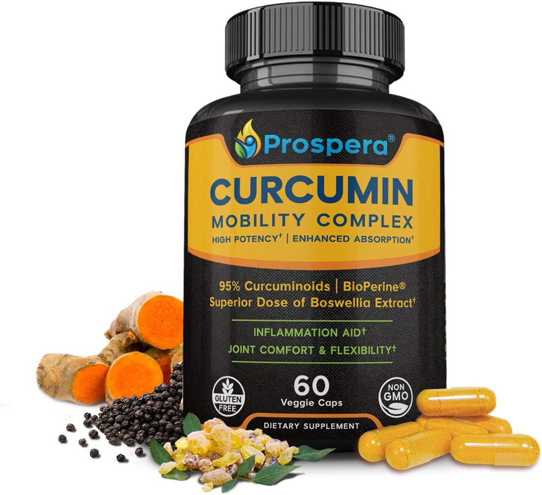 Superior Curcumin for Joint Support – High Potency Turmeric Curcumin, Boswellia, Bioperine – Plantar Fasciitis, Knee and Back Pain Aid – Exercise and Workout Mobility, Ideal for Crossfit – 60 Servings