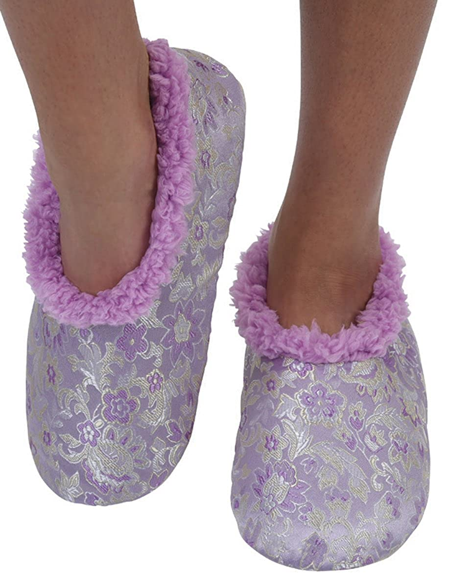 Snoozies Womens Asian Fusion Sherpa Fleece Non Skid Slipper Socks Lavender Medium WAF-001-LAVEN-MEDIUM