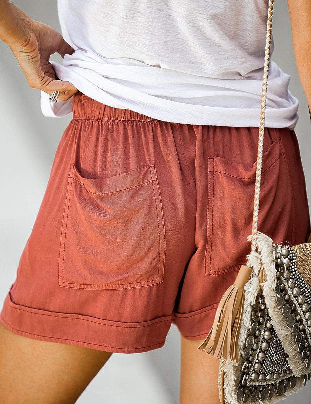 Eddoyee Women Casual Solid Color Shorts Loose Elastic Waist Pants Summer Vacation