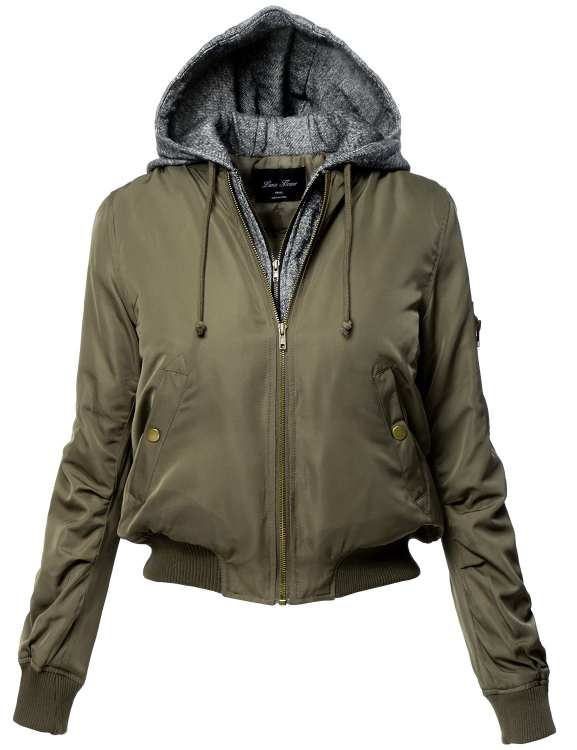 Luna Flower Women's Warm Hoodie Mixed French Terry Bomber Jackets Olive Large (LFWJA0013)