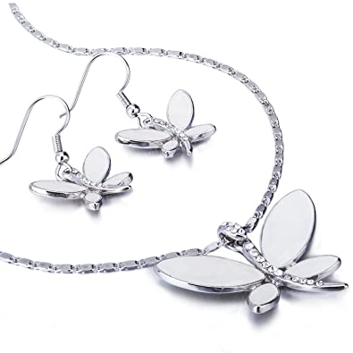 Janeojewels Simple Swarovski Crystal Element Butterfly Pendant Necklace    Earring Jewelry Set. Mother of Pearl e7c287692e8a
