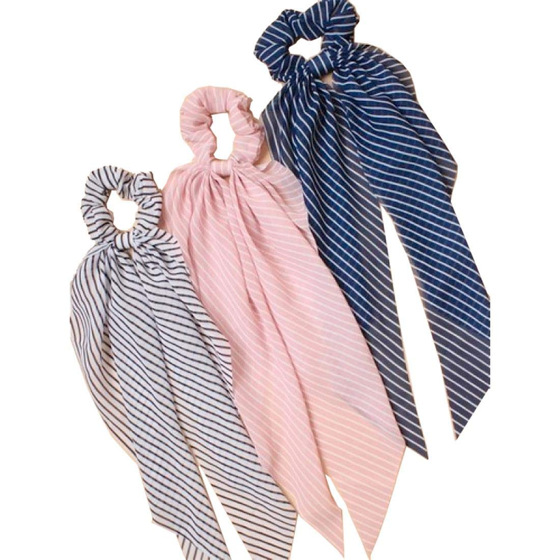 Rimi Hanger Womens Assorted Color Hair Scrunchies Hair Scarf Band Ponytail Holder Elastics Scrunchy Ties Pack of 6