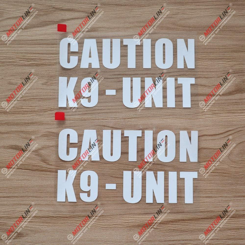 3S MOTORLINE 2X White 6 K9 Unit K-9 Police Dog Caution Decal Sticker Car Vinyl