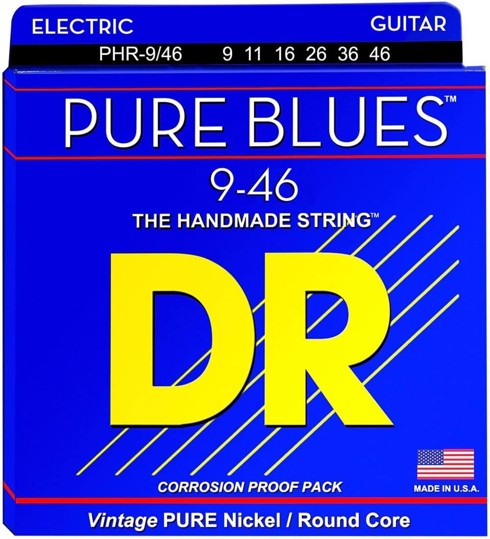 DR Strings Pure Blues Pure Nickel Wrap Round Core 9//46