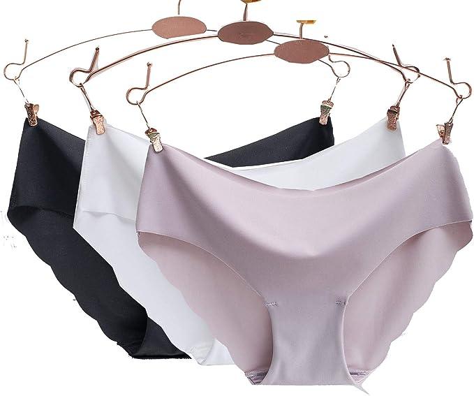 Egurs Braguita Invisible sin Costuras de Cintura Baja de Color Puro Bragas de Estilo Bikini Pack de 3: Amazon.es: Ropa y accesorios