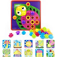 Sportsvoutdoors Button Art Toddler Game, Color Matching Pegboard, Colorful Mushrooms Nail, Early Learning Educational…