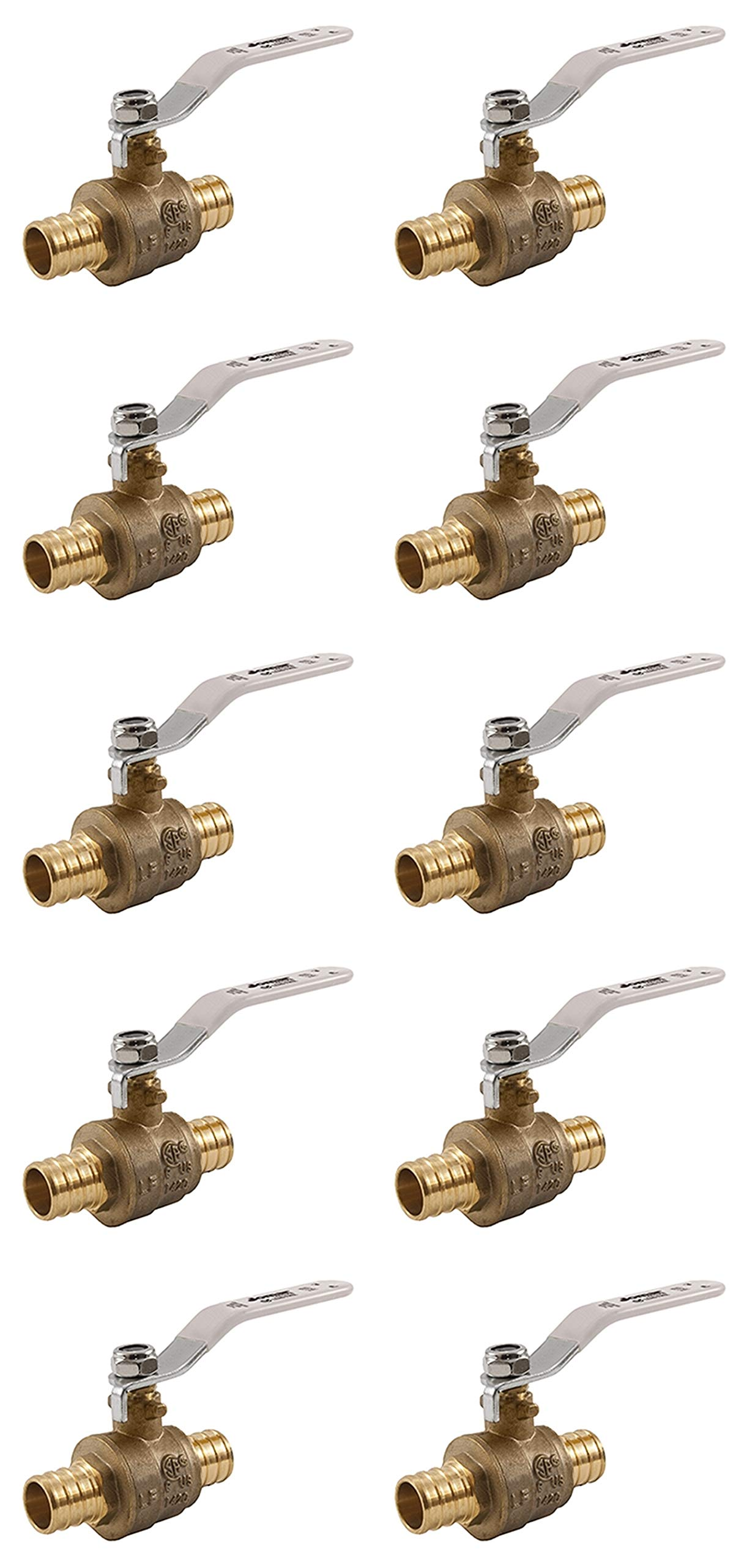 (Pack of 10) 1/2'' PEX Brass Ball Valve-Jomar- Full Port- Standard Crimp Ends-Lead Free- 2 Piece Design, Leak Tested, Heavy Duty