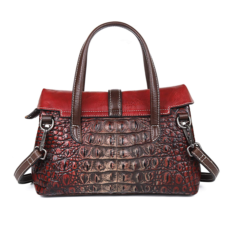 shengweiao handväskor för kvinnor axel axelväska handväska äkta läder topp handtag väskor Röd