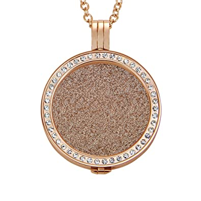 Quiges 90cm Necklace Set Rose Gold Plated Stainless Steel with Crystal Pendant and 33mm Large Coin eB3RIXMr