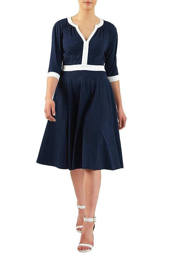 Pin Up Dresses | Pin Up Clothing eShakti Womens Contrast trim cotton knit dress $56.95 AT vintagedancer.com