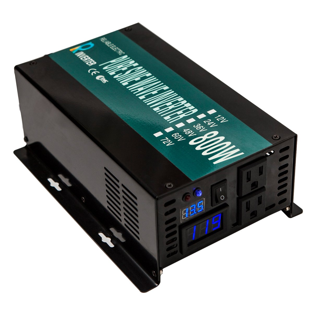 WZRELB Full Power Full Power Endurable Led Display 800W Pure Sine Wave Solar Inverter 12Vdc to 120Vac, RBP80012B1