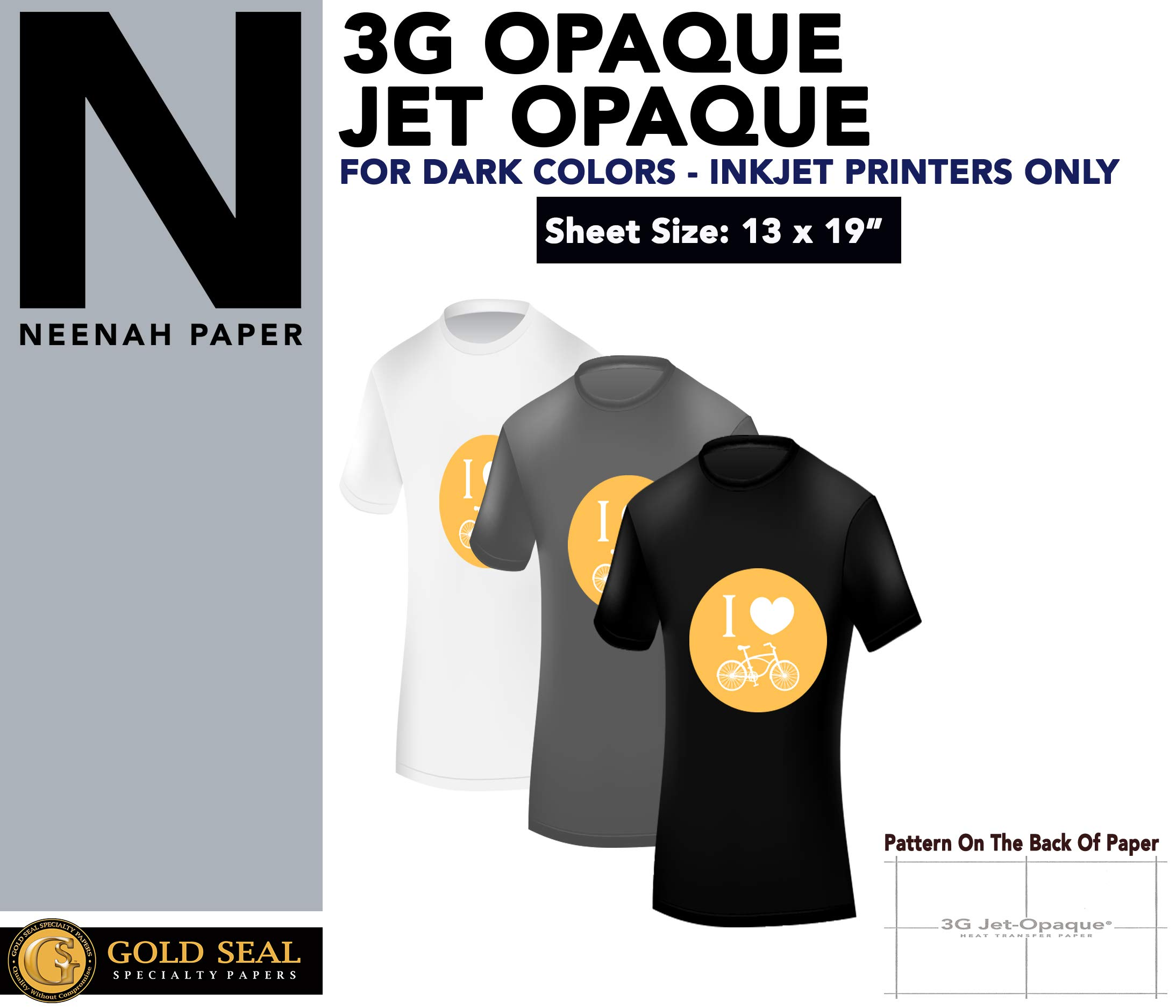 Iron ON Heat Transfer Paper 3G Jet Opaque 13 x 19'' Custom Pack 50 Sheets by Neenah (Image #2)