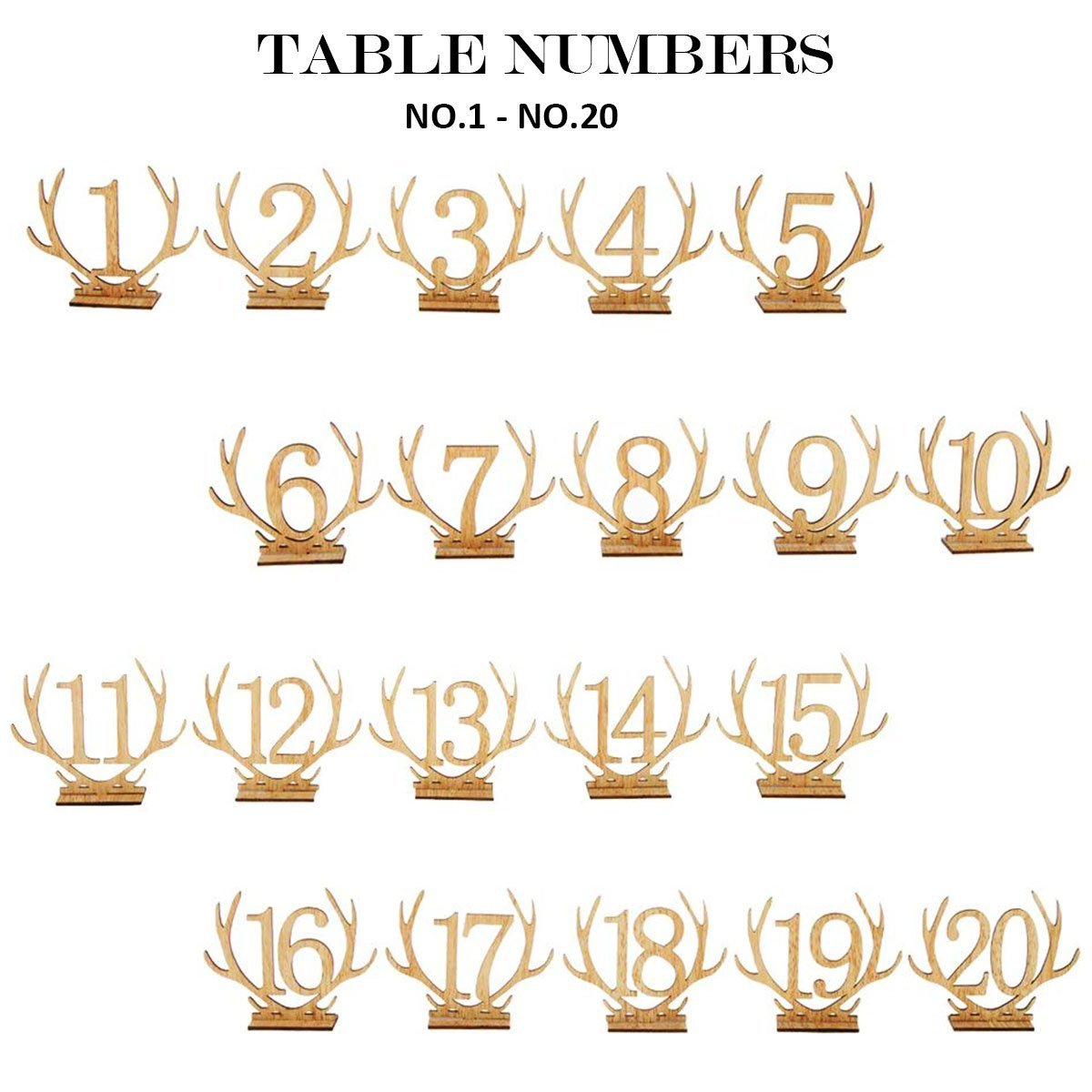 Wellinc Table Numbers 20 Pack (Number 1-20) Wedding Wood Table Numbers Unique Design Party Table Cards for Wedding Events and Banquet by Wellinc (Image #6)