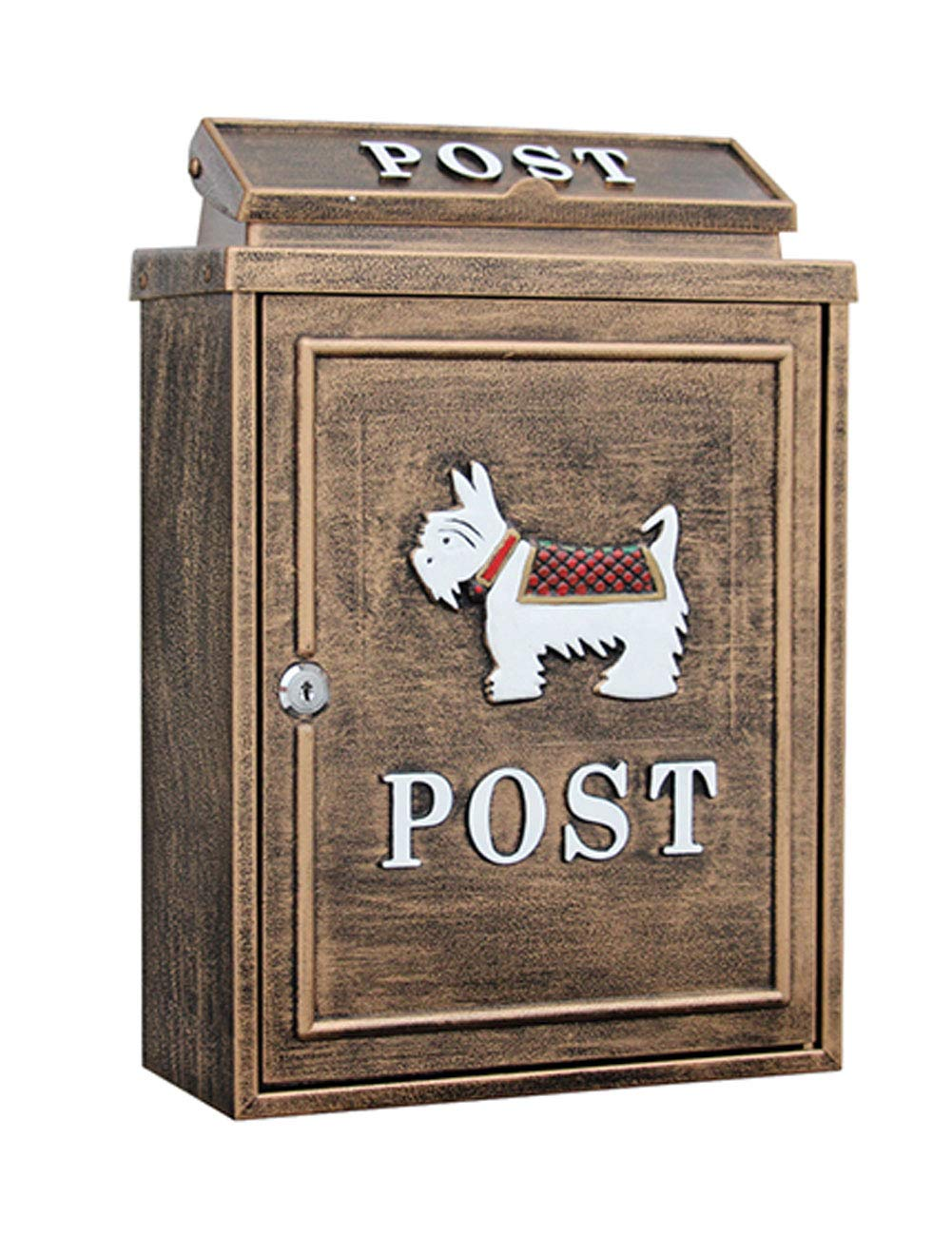 European Retro Mailbox Printing and Painting Process Outdoor Rainwater Wall Hanging with Lock Postbox Cast Iron Craft Letter Box
