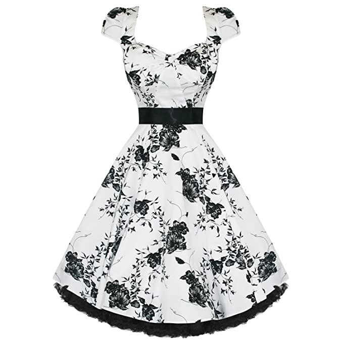 Hearts and Roses London Blanco Negro Floreado 50s Rockabilly Swing Vestido Fiesta Graduación - algodón,