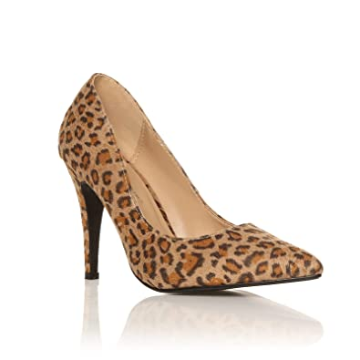 5102dac02931 Darcy Leopard Print Microfibre Stilleto High Heel Pointed Court Shoes Size  UK 3 EU 36