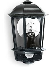 Steinel Außen-Wandleuchte L 190 S schwarz, 180° Bewegungsmelder, 12 m Reichweite, Softlicht, Grundlicht, Dauerlicht