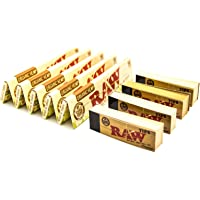 [5 Packs] RAW Organic Hemp King Size Rolling Papers with [4 Booklets] of Raw Rolling Tips
