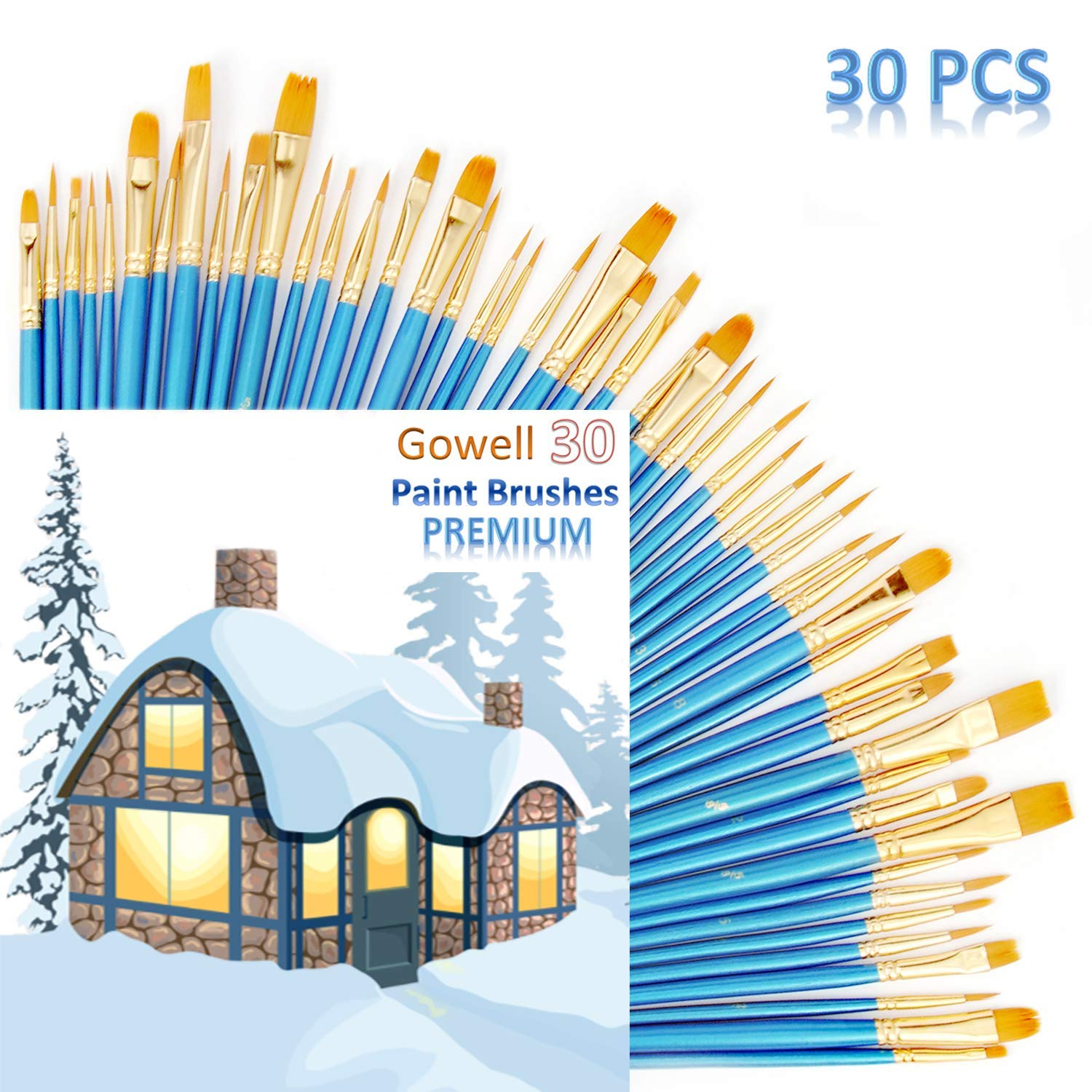 5Packs//50pcs Nylon Hair Brushes for All Purpose Oil Watercolor Craft Paint Brushes for Acrylics Painting Artist Professional Kits Acrylic Paint Brushes,