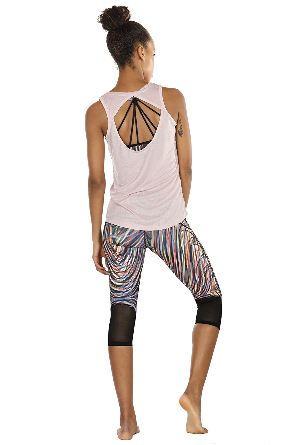 icyzone Yoga Tops Activewear Workout Clothes Open Back Fitness ...
