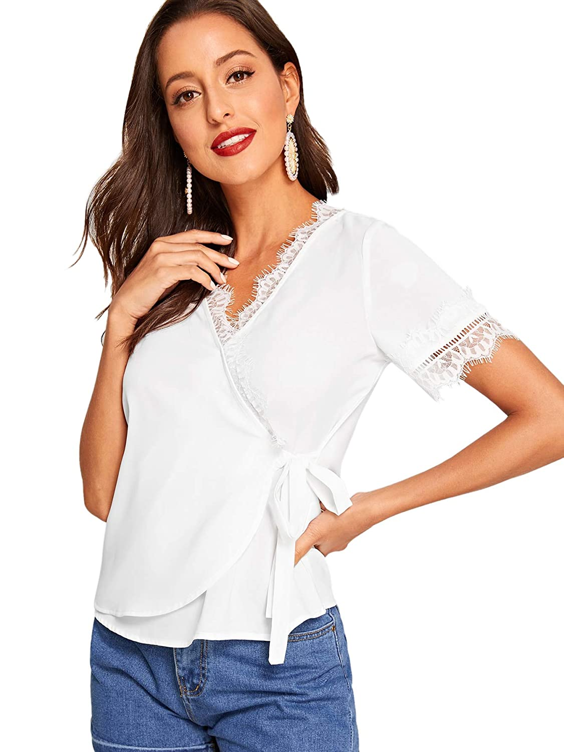 999c6f4afe SheIn Women's Casual V Neck Warp Knot Front Lace Trim Short Sleeve Blouse  Shirt Top at Amazon Women's Clothing store: