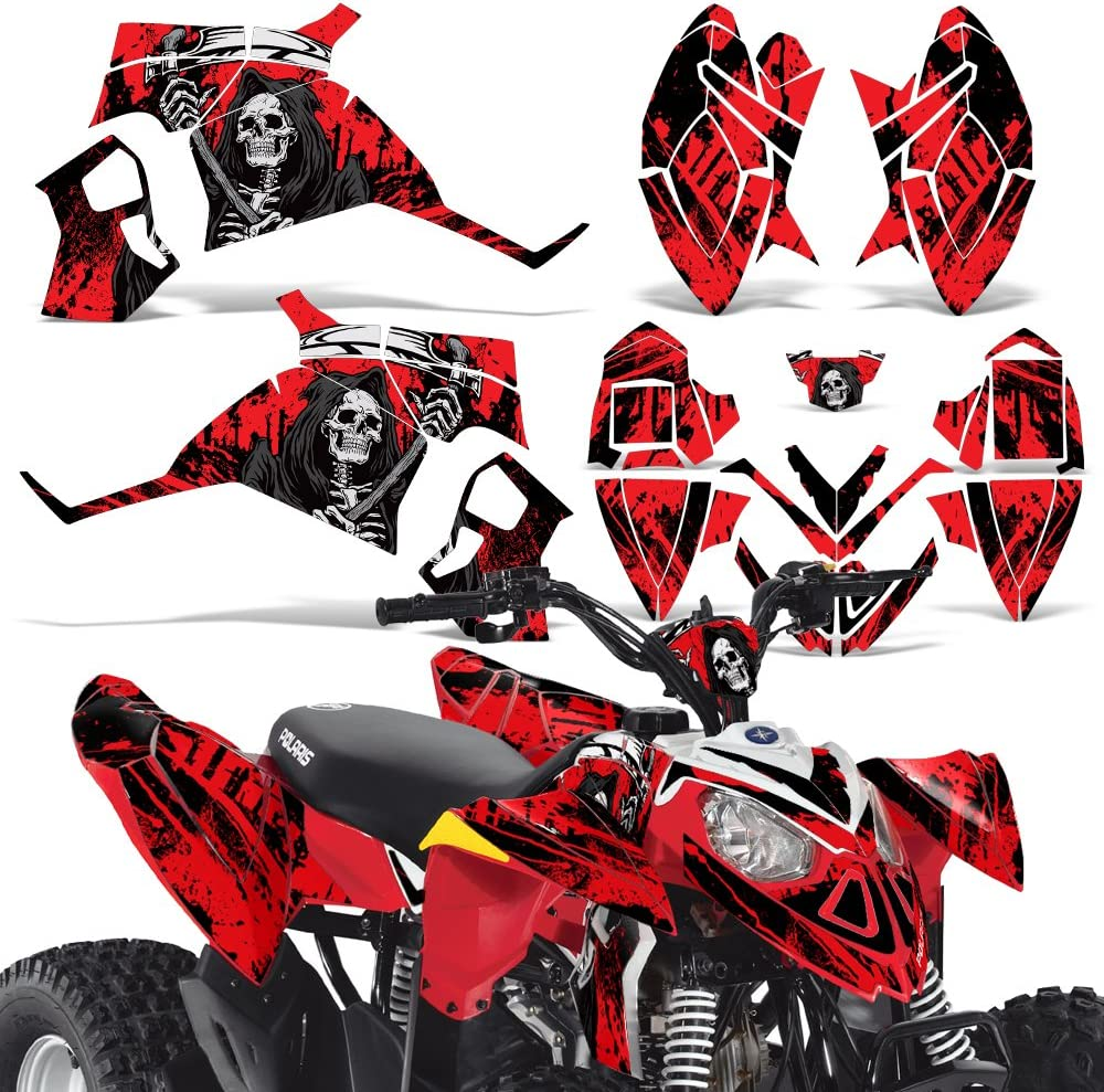Wholesale Decals ATV Graphics kit Sticker Decal Compatible with Polaris Outlaw 90//110 2002-2011 Reaper V2 Red