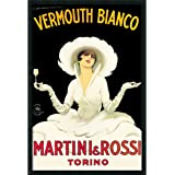 """Framed Art Print, 'Martini & Rossi' by Marcello Dudovich: Outer Size 25 x 37"""""""