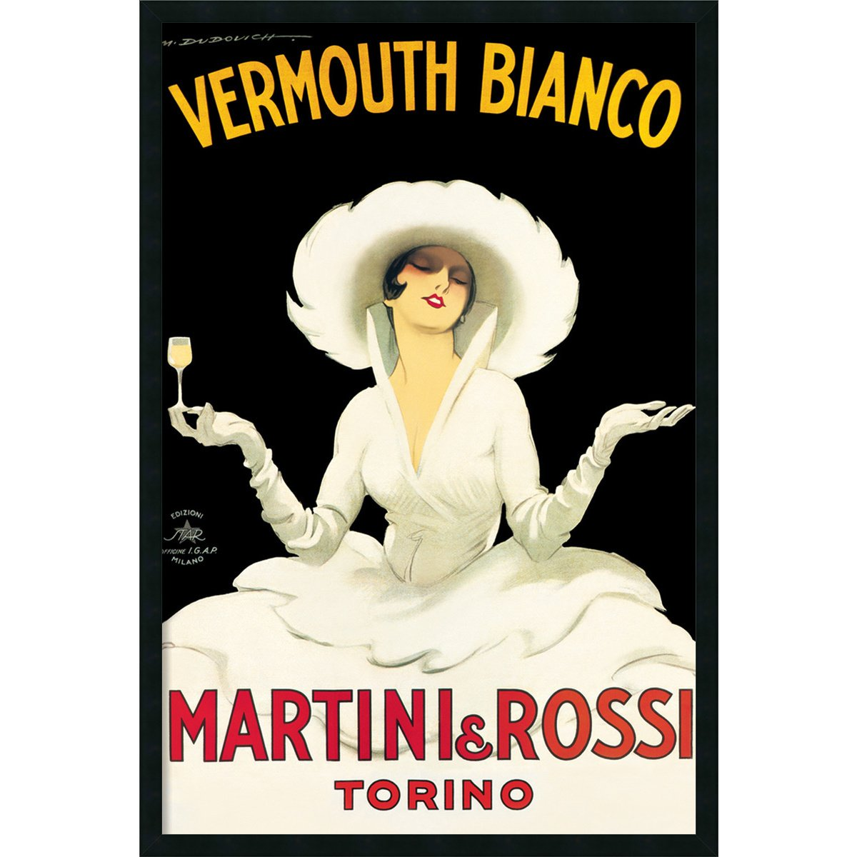 Martini & Rossi Framed壁アートby Marcello Dudovich – 25.41 W x 37.41h in。 25