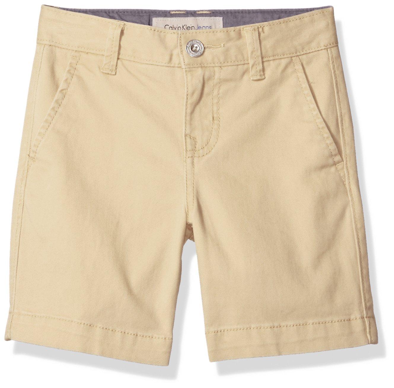 Calvin Klein Big Boys' Motion Stretch Flat Front Short, Tan, 14