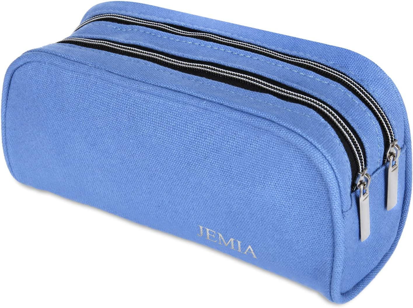 JEMIA Dual Compartments Collection 2 Independent Zipper Chambers with Mesh Pockets Pencil Case Black, Canvas