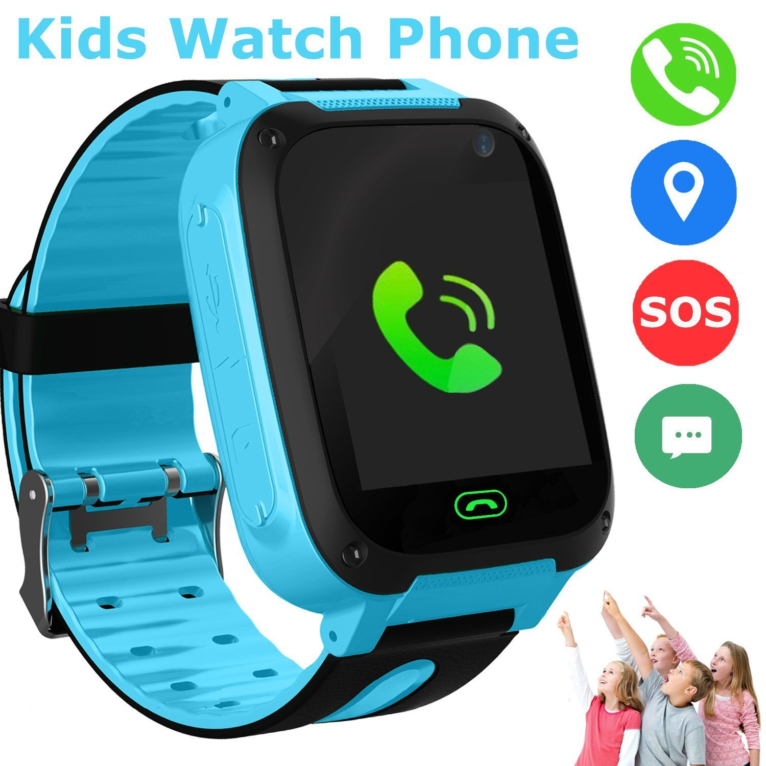 cd8ac9cd63eac2 Kids Smart Watch Phone, GPS Tracker Smart Wrist Watch for 3-12 Year Old  Boys Girls with SOS Camera Sim Card Slot Touch Screen Game Smartwatch  Outdoor ...